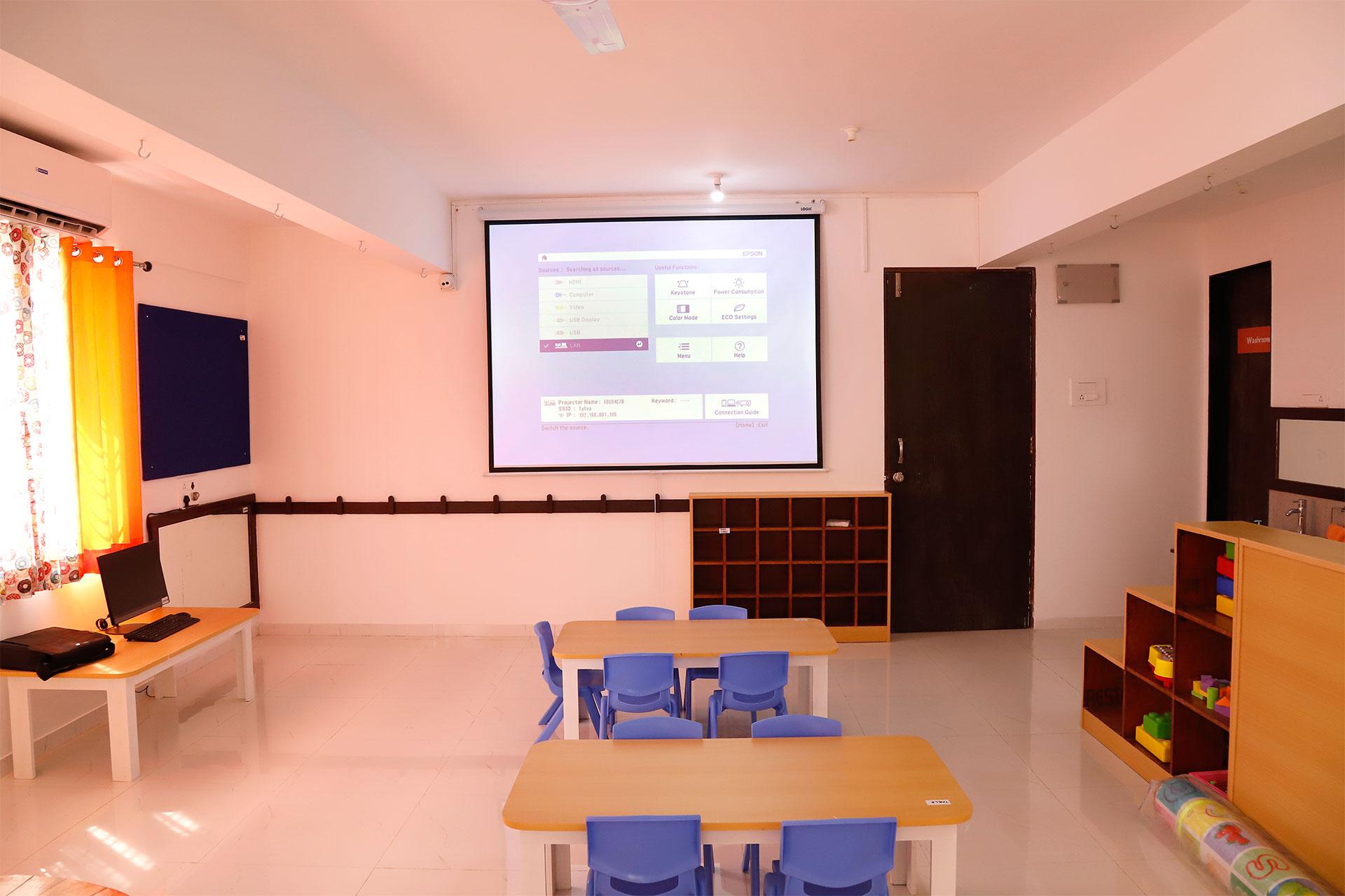 Projector Classroom at Tatva Pre-Schools in Pune Wakad and Balewadi